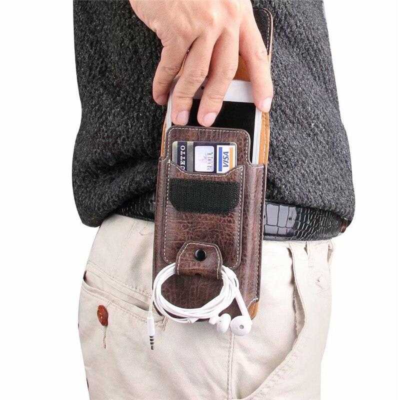 Funda de piel auténtica con bolsa de Teléfono universal para maquinilla de afeitar Wieppo E1 S8 S6 Lite S5 Senseit A150 C155 W289 con bolsillo para tarjetas