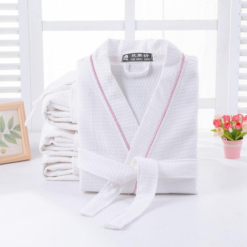 Spring Summer Waffle Bathrobe Women Cotton Kimono Robe Ladies Pajama Long Soft Sleepwear Solid Color Breathable Robe Bridesmaid