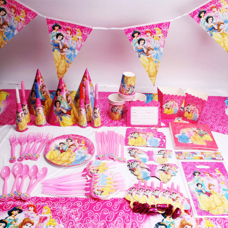 157/127 pcs/lot Six Princess Party Supplies Pink Paper Napkin Cup Princess Event Party Flag Decorations Mask Noise Maker Supply