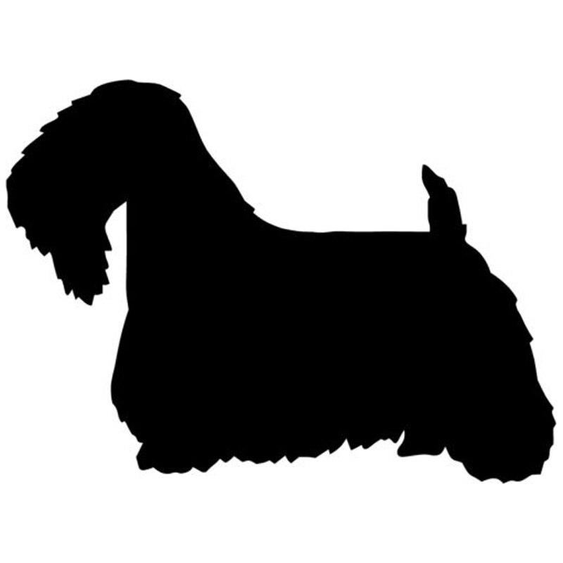 13*9,5 CM Sealyham Terrier perro Animal Car Sticker clásico decorativo Car Styling reflectante pegatinas negro/plata C6-0123