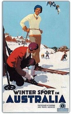 Australien Winter Sport Ski Reise Tour Retro Vintage Poster Leinwand Malerei DIY Wand Papier Poster Wohnkultur Geschenk