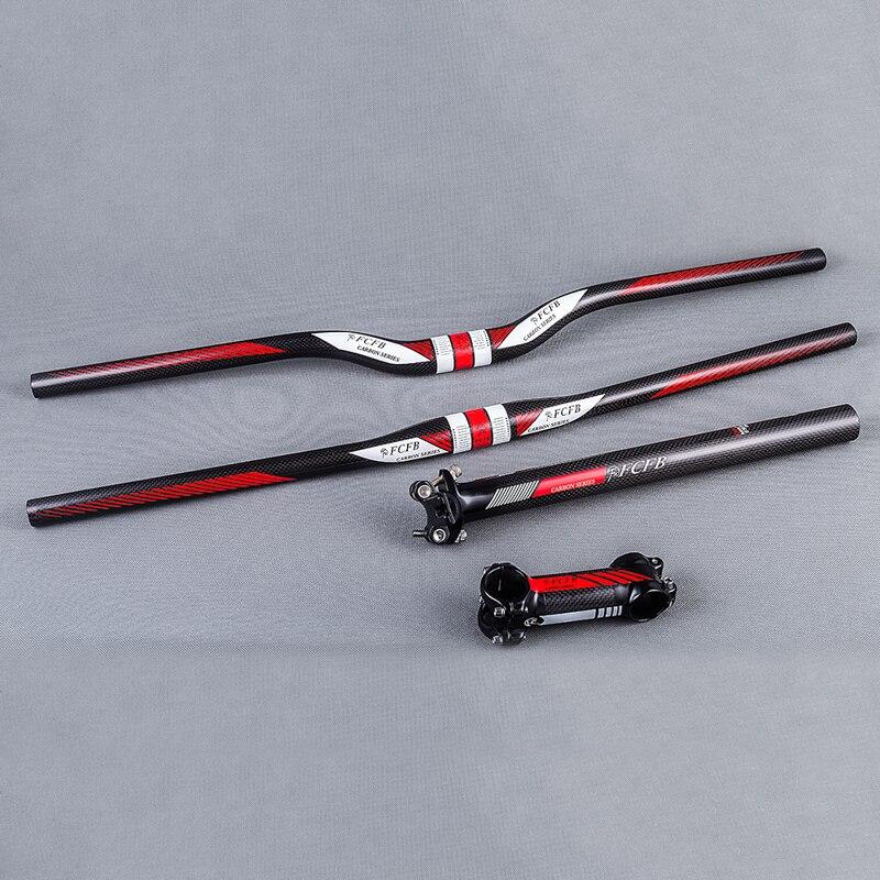 FCFB-Manillar Horizontal de fibra de carbono, conjunto de piezas para bicicleta de montaña, manillar de subida plana, vástago y tija de sillín