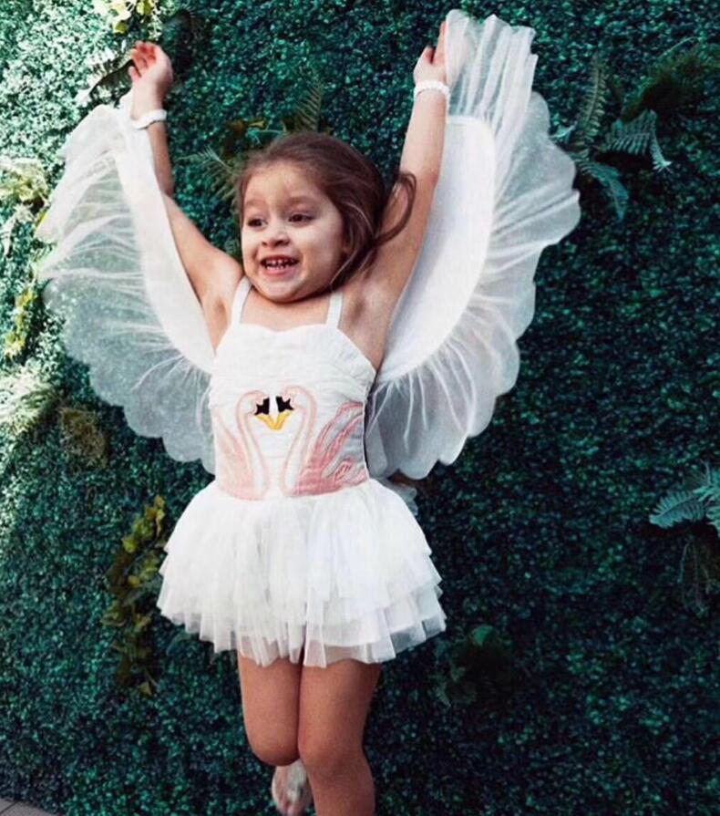2019 Erapinky فستان الأميرة للفتيات الملاك فلامنغو بنات فستان حفلة للإزالة سوان أجنحة عيد ميلاد فستان مُصمم حسب الطلب ملابس الاطفال
