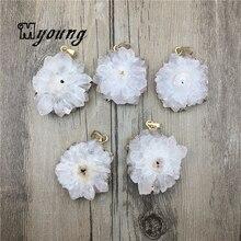 Large Sun Flower Shape White Quartz Druzy Slice Pendant,Natural White Crystal Quartz Necklace Charm Jewelry Making MY0450