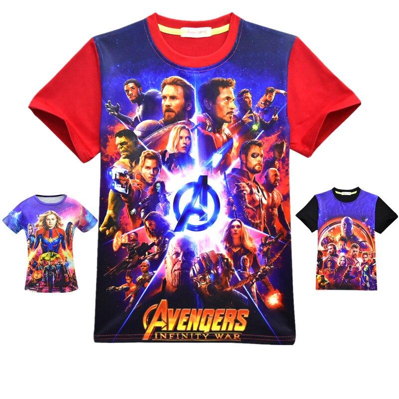 Camiseta de manga corta de algodón para niños con estampado de superhéroe de Ironman Raytheon de Hulk, de Los Vengadores 2019, 4