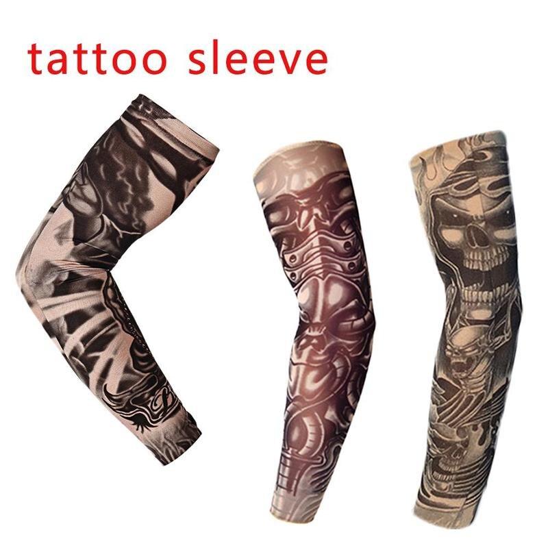 Aproximadamente 47cm Mangas del tatuaje calentador del brazo 3 colores Unisex protección Uv al aire libre temporal tatuaje falso brazo manga más caliente Mangas
