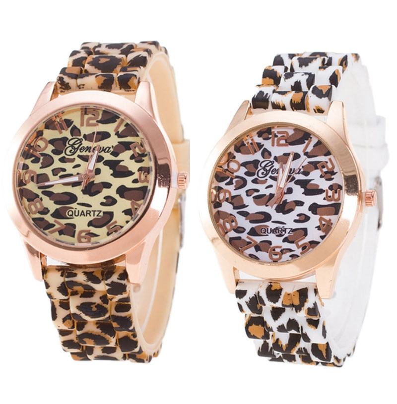 Moda Unisex Geneva leopardo silicona gelatina GelQuartz reloj de pulsera analógico reloj de pulsera para hombre decoración de fiesta de muñeca reloj de negocios gif