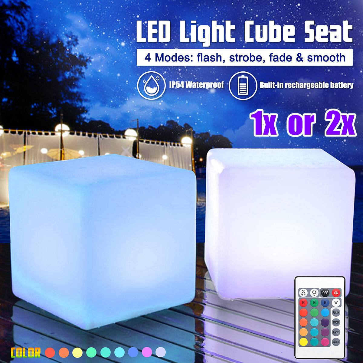 Asiento en forma de cubo ligero con RGB LED de 20cm, silla impermeable recargable, iluminación LED + mando a distancia para Bar, decoración del hogar de alta calidad