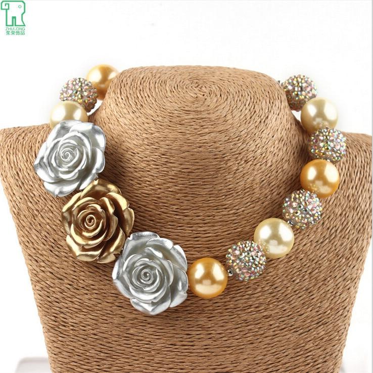 Conjuntos de collares de flores para niños, joyería a la moda para bebés, collares de flores con cuentas de chicle gruesas para niñas 2015