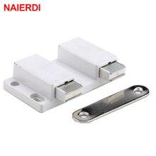 NAIERDI Double magnétique armoire attraper cuisine porte bouchon tiroir fermeture douce carré pousser pour ouvrir le toucher pour le matériel de meubles