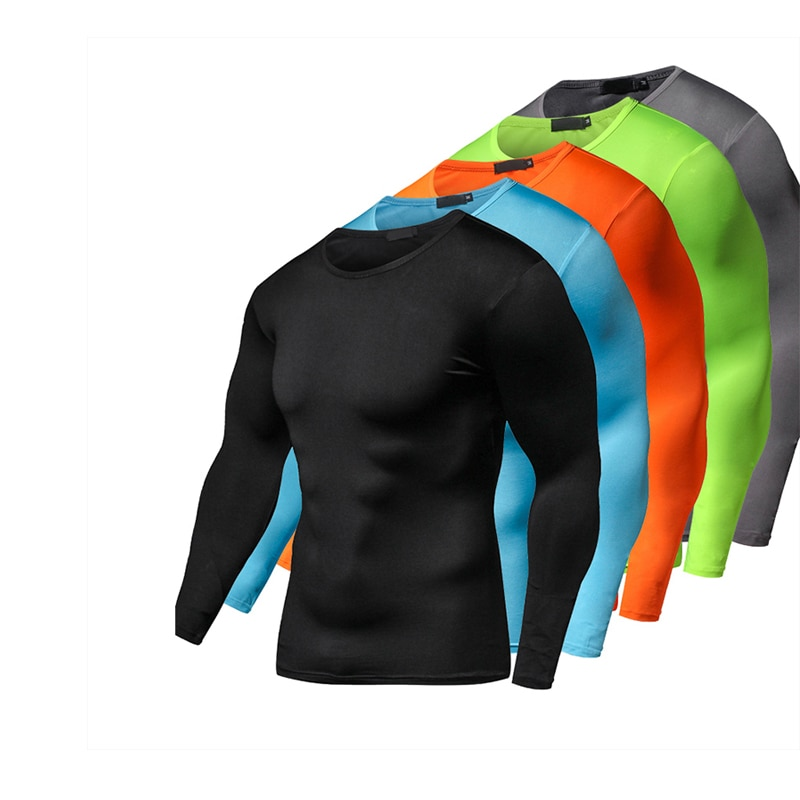 2019 Summer Autumn Male Running T-shirt Tights Long Sleeve Tops & Tees Men Compression Shirt Fitness Quick Drying Sports t shirt