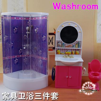 original for bathroom barbie shower bathtub furniture 1/6 bjd doll accessories toilet bath hair dresser set child toy gift