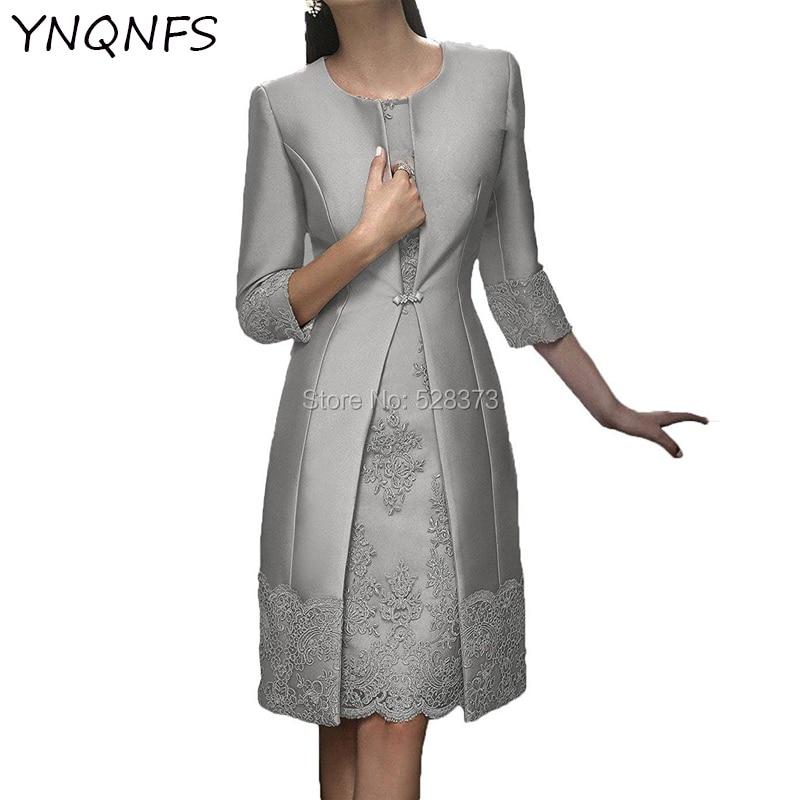 YNQNFS MD165 صور حقيقية أنيقة قصيرة فساتين أم العروس مع 3/4 الأكمام سترة وتتسابق الفضة/اللؤلؤ الوردي 2019