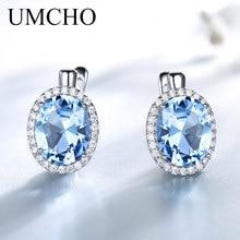 UMCHO classique ovale créé bleu ciel topaze Clip boucles doreilles solide 925 en argent Sterling boucles doreilles pour les femmes cadeau de mariage bijoux fins