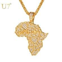 U7 África colgantes mapa y collares para mujeres/hombres Iced Out CZ collar cadena 2018 Hip Hop Mapa de la joya de Etiopía Africana P1210