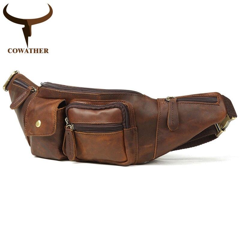 COWATHER 2021 أفضل بقرة جلد طبيعي حقيبة صدر للرجال عالية الجودة الخصر حقيبة تصميم جديد حقيبة الكتف الرجال عادية Q6375 شحن مجاني