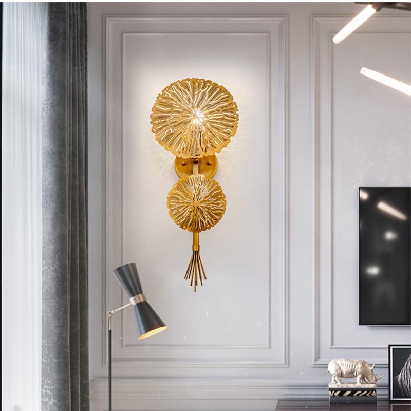 Loft Luxury Golden Flower Wall Lamp Hotel Room Villa Hall Sconce Lamp Creative Designer Living Dining Wall Lights Free Shipping