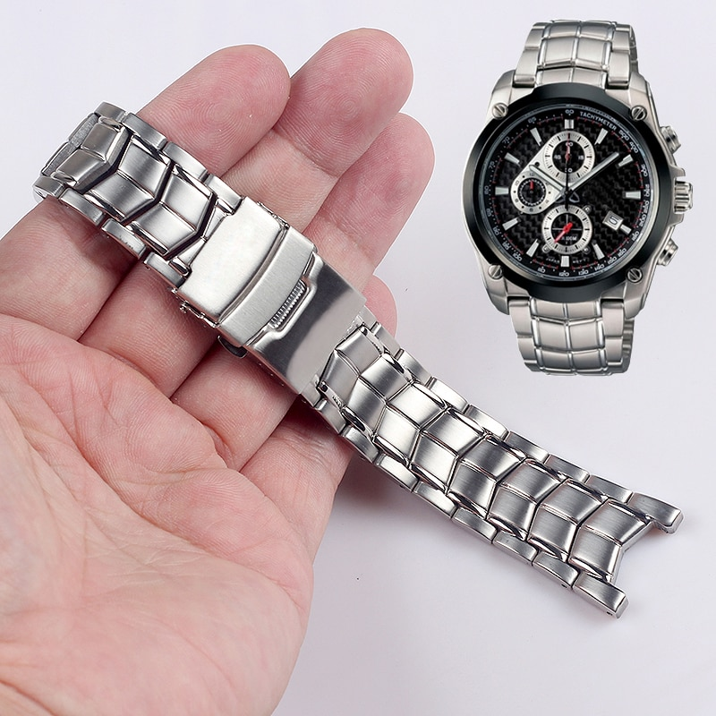 Sólido aço inoxidável pulseira de relógio para casio EF-524 pulseiras de relógio de metal masculino 5051 22mm acessórios pulseira