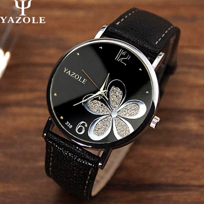 Yazole Watches Women 2019 Fashion Leather Strap Flower Female Clock Ladies Quartz Wrist Watch Montre Femme Relogio Feminino