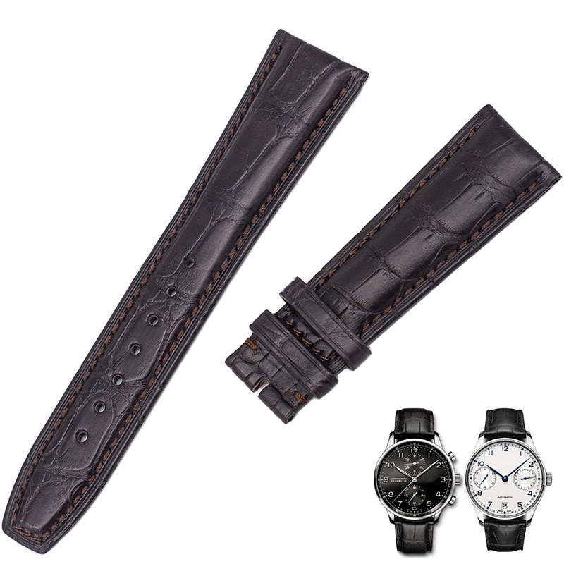 Substitute for IWC universal portukino / Portuguese alligator skin leather watch with male 20mm enlarge