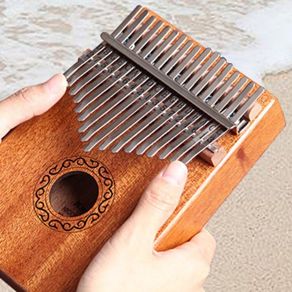 Instrumento Musical Kalimba de madera sólida, de caoba africana, de 10/17 teclas, con dedo pulgar, Piano, 17 teclas