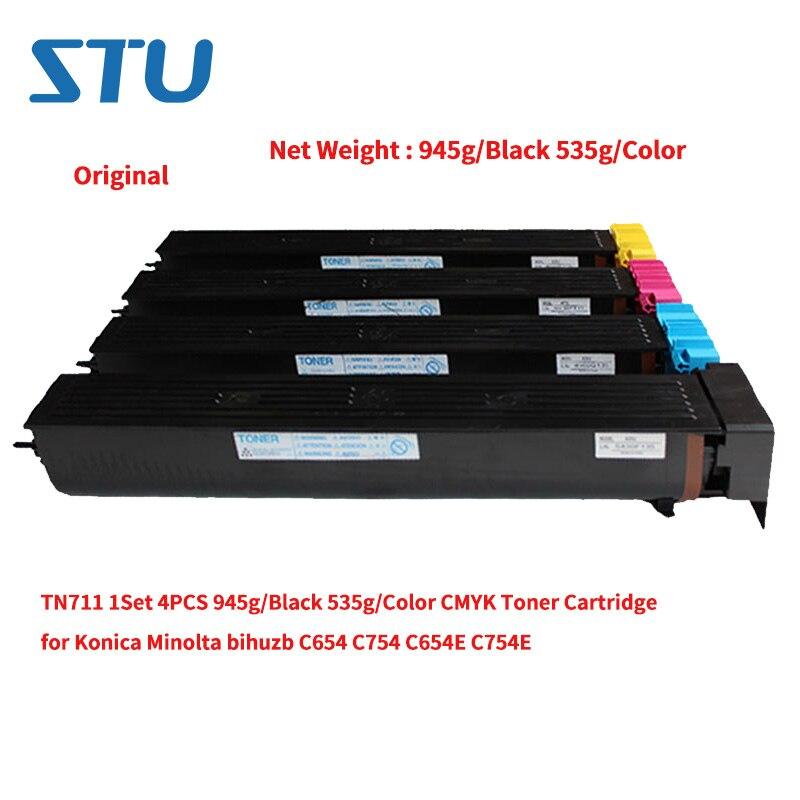 TN711 1 juego 4 Uds nuevo Original 945g/Negro 535g/Color CMYK cartucho de tóner para Konica Minolta bihuzb C654 C654E C754E
