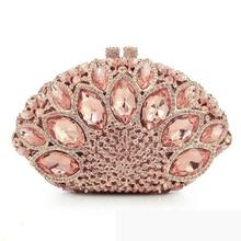 Big Rhinestone Evening Clutch Bags Pink Party Purse Women Shell Shape Metal Clutches Luxury Wedding Gemstone Ladies Handbags