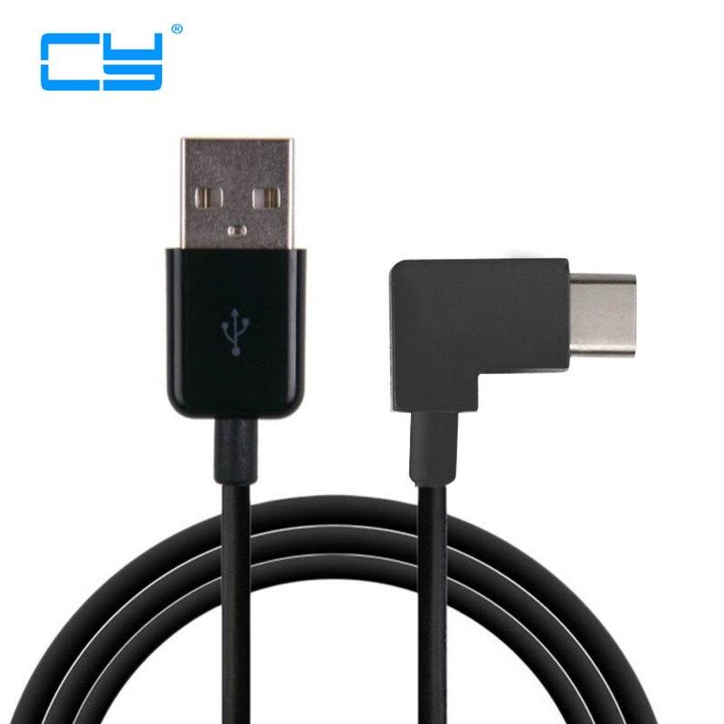 Cable USB tipo C de 100cm, 1m, 2m, 3m, Cable corto de 90 grados, en ángulo recto, conector USB tipo-c 3,1, Cable USB C para MacBook / Xiaomi 4C