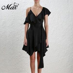 Max Spri 2019 New Fashion Off the Shoulder V Neckline Sashes Ruffle Women Party A- Line Midi Sexy Dress Black