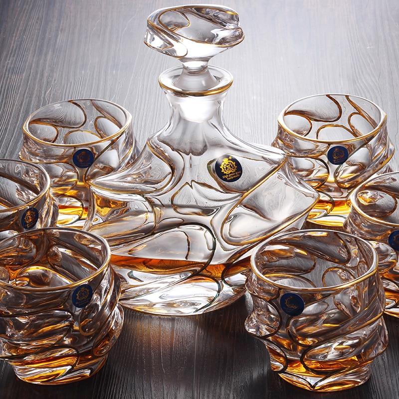 Хрустальный бокал для вина, бокал для виски, винная бутылка, Золотая и серебряная проволока