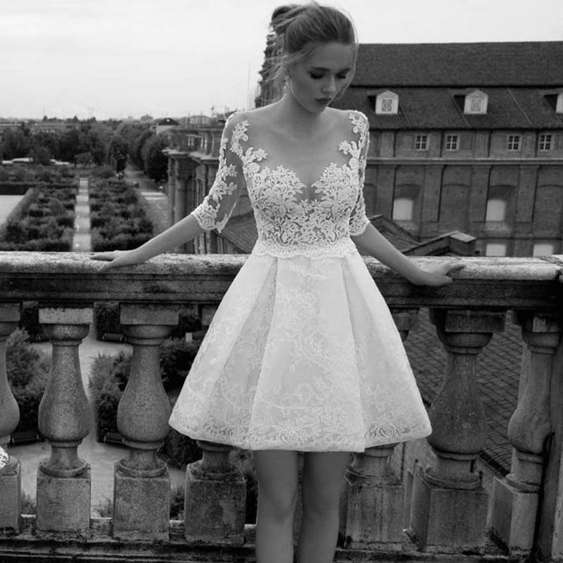Vestidos de novia cortos con cuello redondo de tul ilusión 2019 mangas medio gorro encaje romántico dulce apliques vestidos de novia AX103