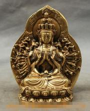 song voge gem S7090 Chinese Brass Buddhism Kwan-Yin Bowl 1000 Arm Avalokitesvara Buddha Statue Set