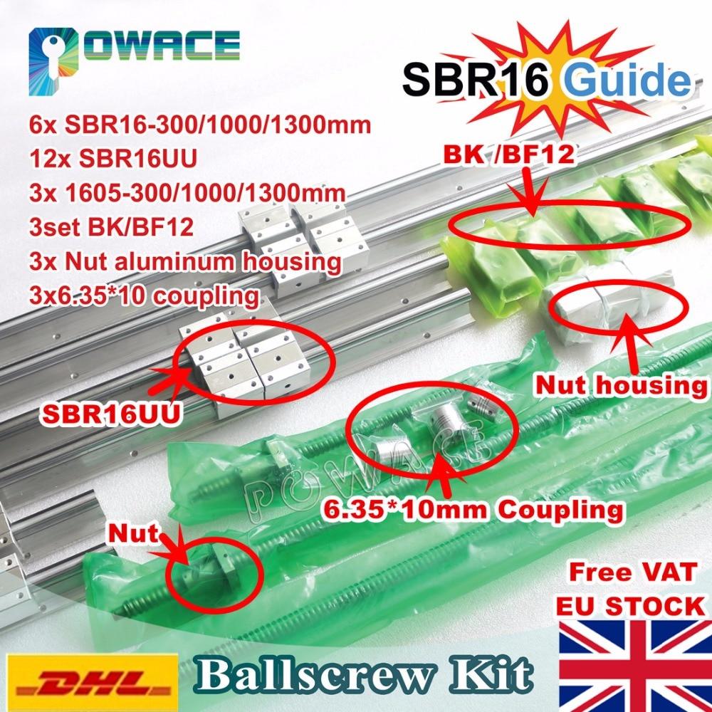 [الاتحاد الأوروبي الشحن VAT] 6 قطعة خطي السكك الحديدية SBR16 L-300/1000/1300 مللي متر + 3 مجموعة Ballscrew SFU1605 300/1000/1300 مللي متر و الجوز + 3 مجموعة BK/B12 و اقتران