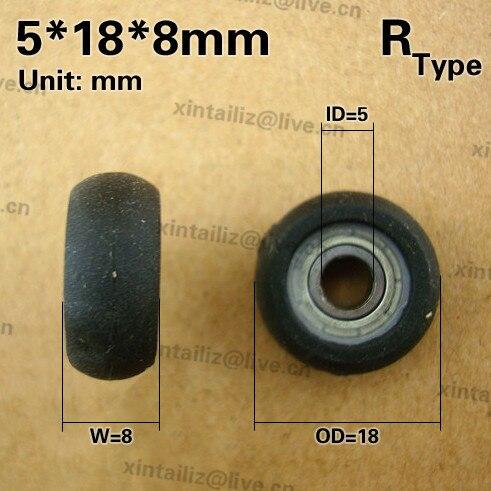 Envío gratis 10 piezas de PVC material suave rodamiento de rodillos rueda de caucho recubierto rodamiento baja polea de rueda ruidosa