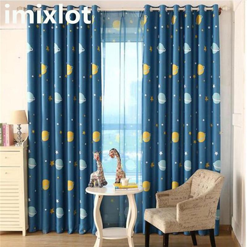 Imixlot, cortinas opacas con Panel para habitación de Niños de dibujos animados, cortina azul con estampado de Planeta, cortina para dormitorio de Chico, sala de estudio, cortina para ventana