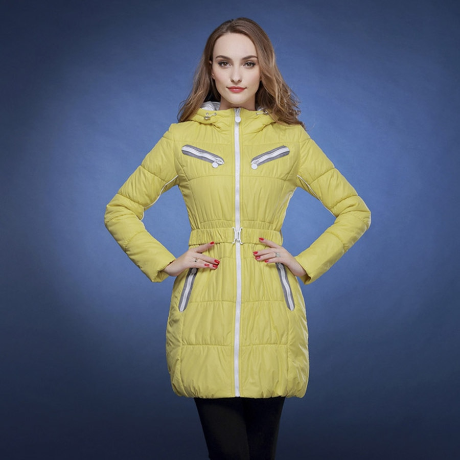 2017 spring autumn and winter jacket women slim fashion long parka candy color winter coat v561
