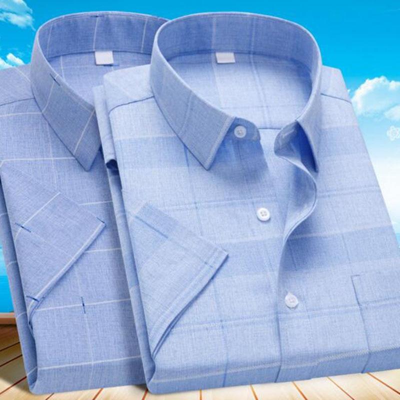 Korean Style Men Fashion Plaid Printed Casual Slim Fit Shirt,Turn-down Collar Short Sleeve Single Breasted Cloth Breathable Soft