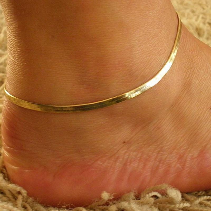 Модные Простые Летние сандалии золотистого цвета с цепочкой в виде змеи; Очаровательные браслеты на щиколотке для женщин; Ювелирные изделия для ног