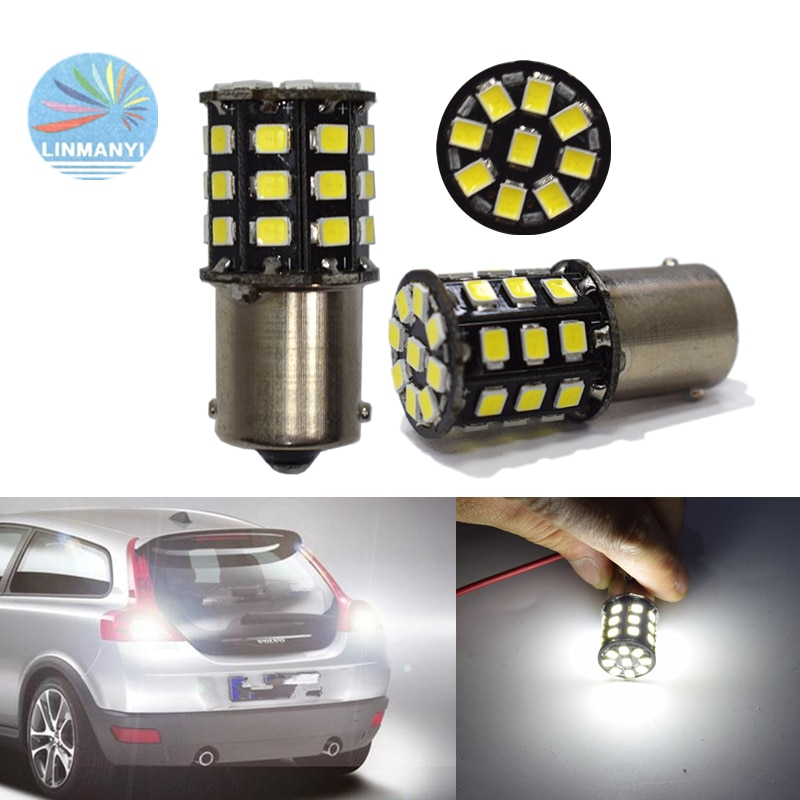 2PCS  Auto Car Led S25 BA15S P21W 1156 2835 33SMD 1156 Reversing lights Brake lights taillights Turn signal lights 12V 6000K