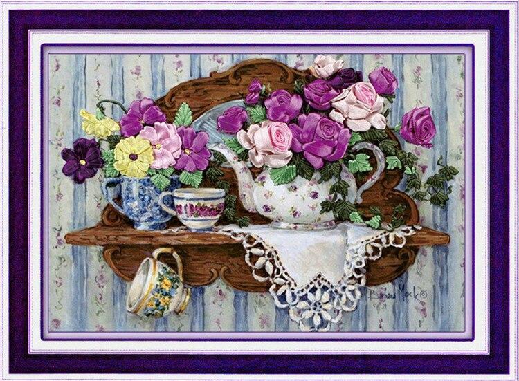 [Super ofertas] costura, DIY conjuntos de punto de cruz de cinta para kit de bordado, flor de té, cinta de amor, decoración de punto para pared