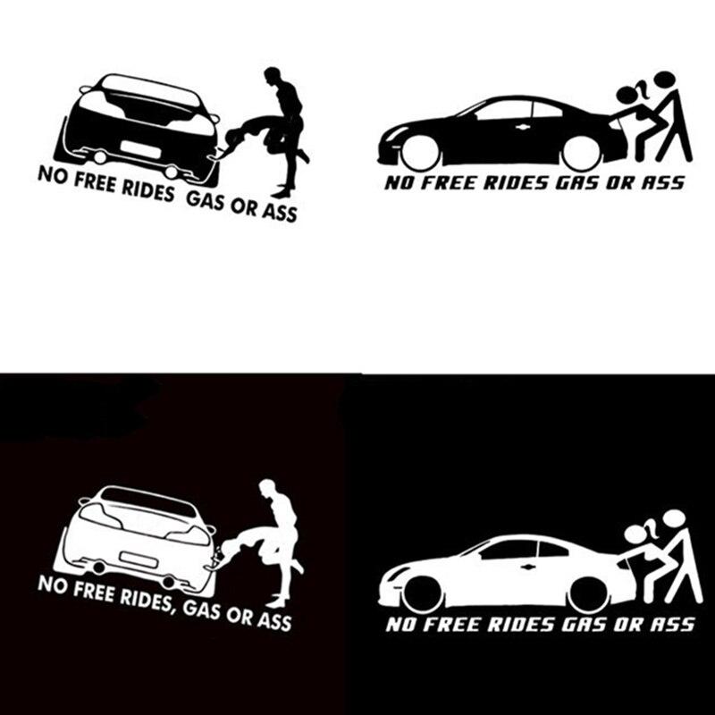 """20*8 см газ или задница """"No Free Rides"""" забавная виниловая Автомобильная наклейка «Доберман» оконный бампер для украшения кузова автомобиля"""