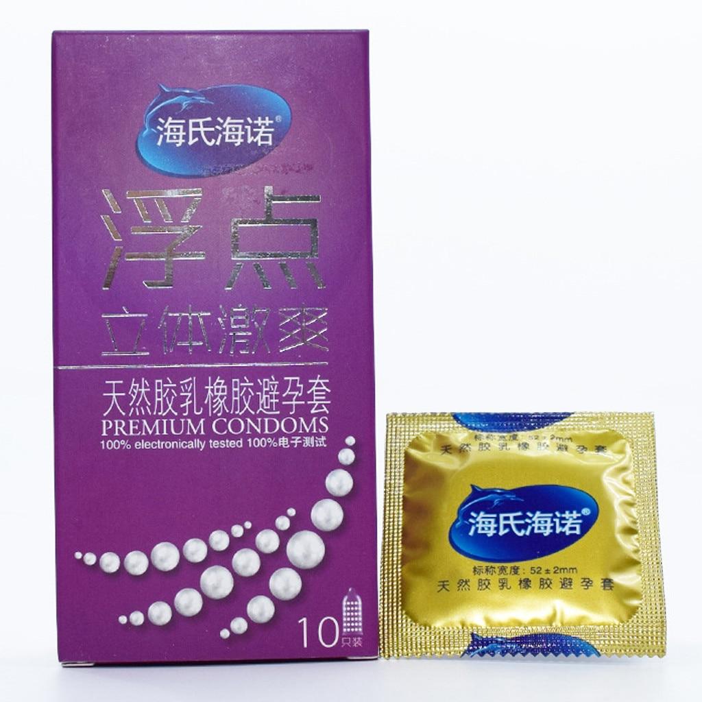 Condones de látex natural con ácido para hombres, Juguetes sexuales para adultos, 10 Uds., Ultra condón fino acanalado, anticonceptivo más seguro para hombres W328