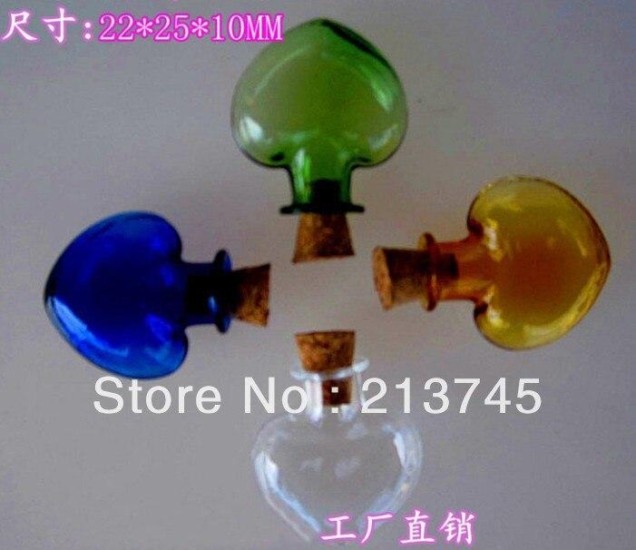 Love shape vial  pendant  mobile phone pendant  glass wishing bottle DIY vial pendant/miniature pendant/glass bottle/wish tube