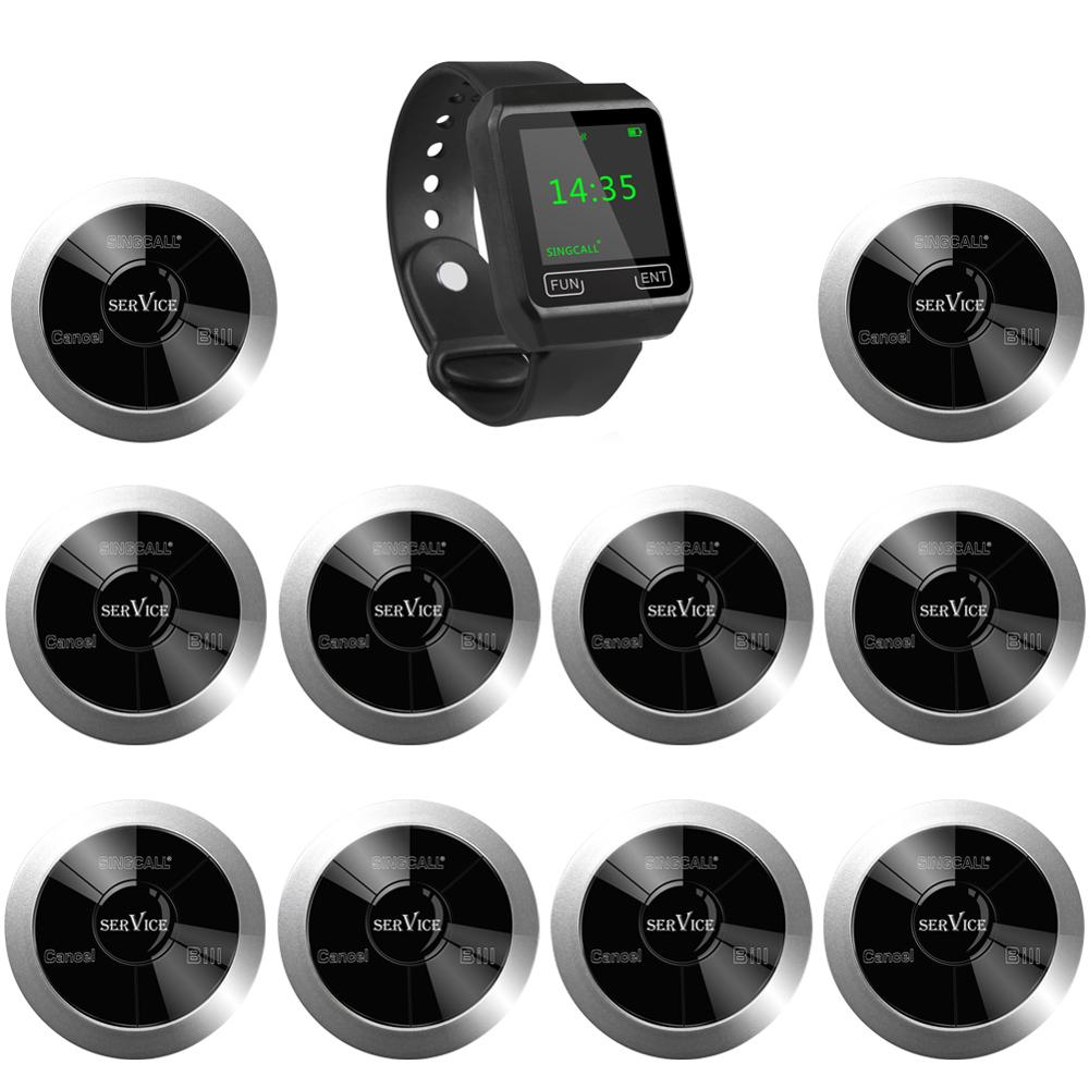 SINGCALL Calling System,Wireless Call Button,Restaurant Guest Pagers,1 Watch Pager Plus 10 Multi-Function Keys to Call Waitress