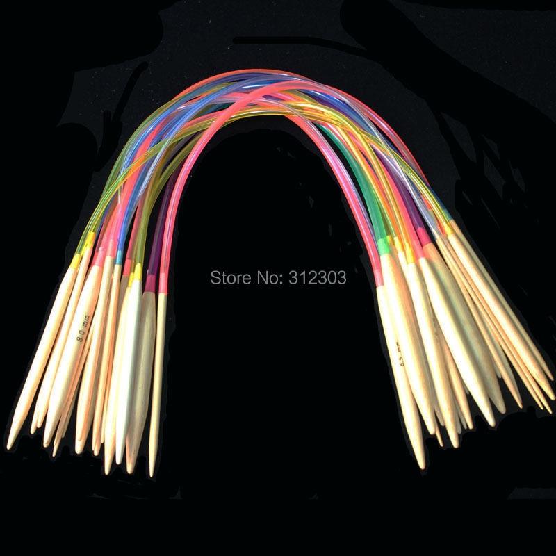 """[2,0-10 мм] 18 шт 16 """"40 см многоцветная пластиковая трубка, круглые отбеленные Бамбуковые Спицы, набор инструментов для вязания крючком"""