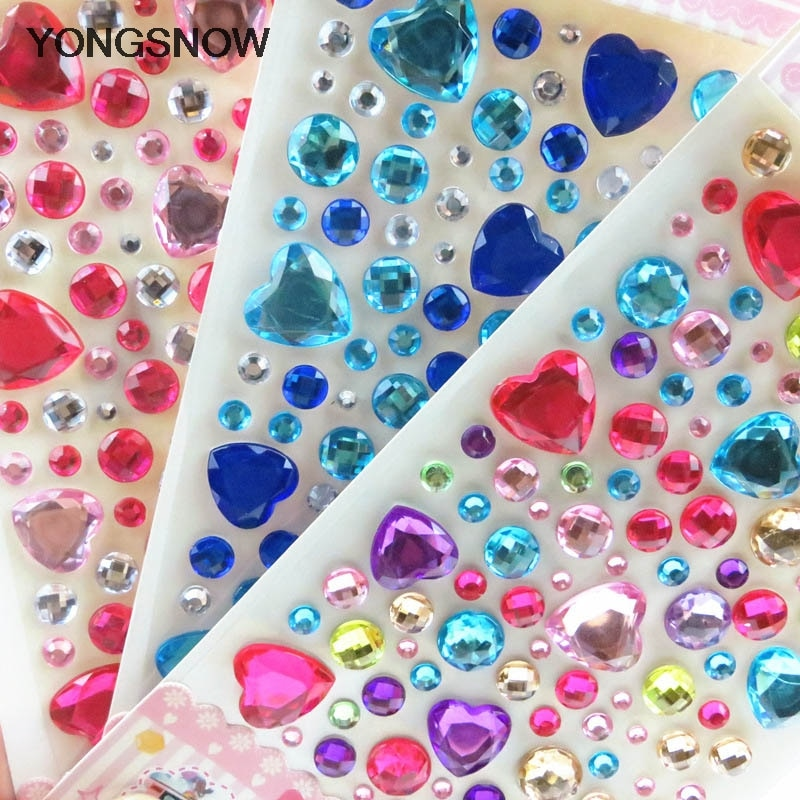 1Pc Heart Rhinestone Crystal Stickers Mobile Phone/PC Decoration DIY Craft Scrapbooking Stickers Fla