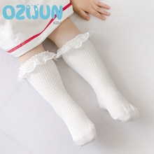 2020 New Lace Baby Cotton Knees Socks Double Needle Knee-high Socks Solid Color Princess Girls Kids