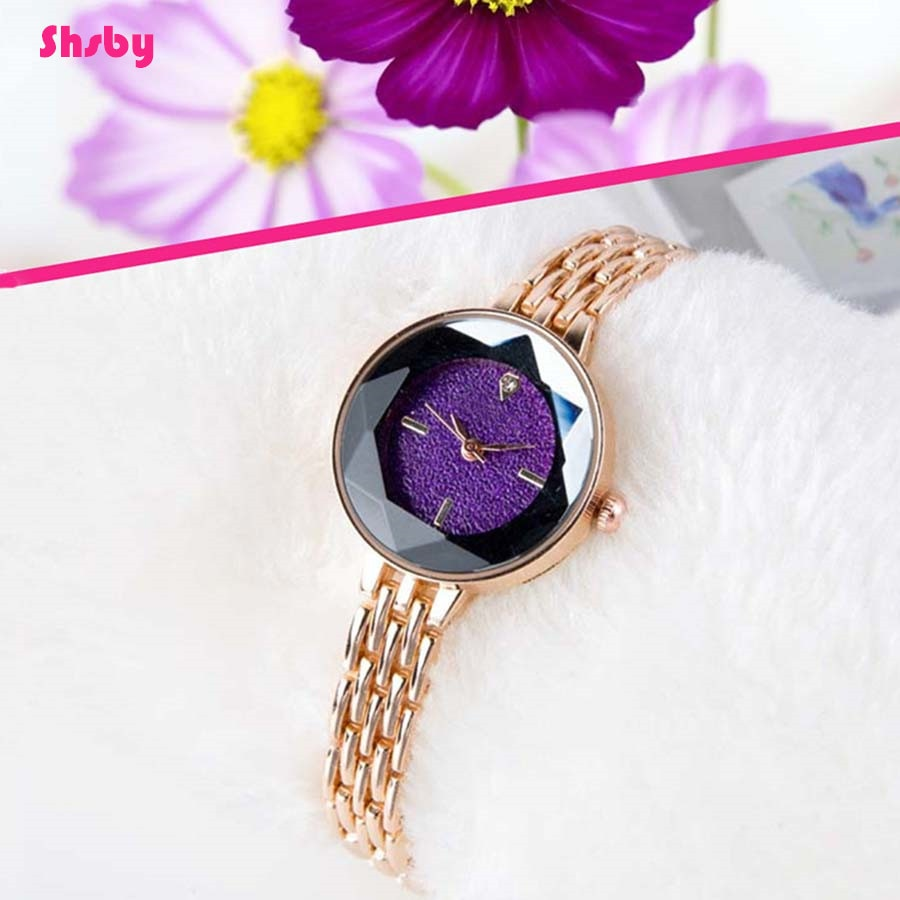 Shsby lady Jewelry Watches Casual Quartz Bracelet Watch Full drill starry sky Rose gold watch  Women diamond surface Dress watch women crystal watches bracelet set female jewelry luxury diamond white watch fashion rose gold starry quartz watch for lady gift