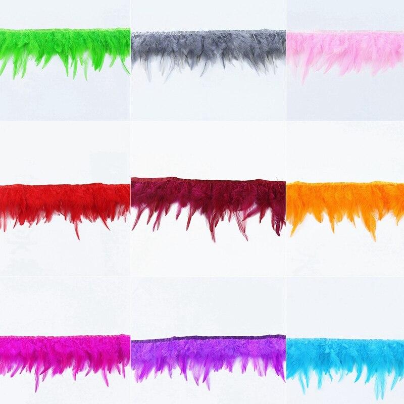 Plumas de gallo de pollo, 1 metros/lote, flecos elegantes, plumas de faisán para manualidades para fabricación de joyas, ropa, decoración de bodas, plumas