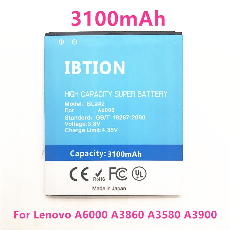BL-F33 3100mAh BL242 batería para Lenovo A6000 A3860 A3580 A3900 LeMeng K30-T K30-W A6010 más A6010 PHICOMM pista L C630